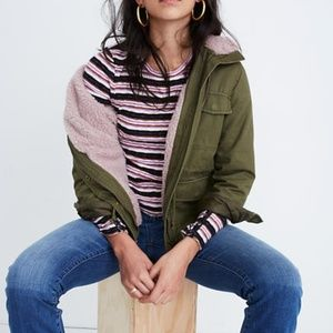 Madewell Olive Green Sherpa Trimmed Jacket